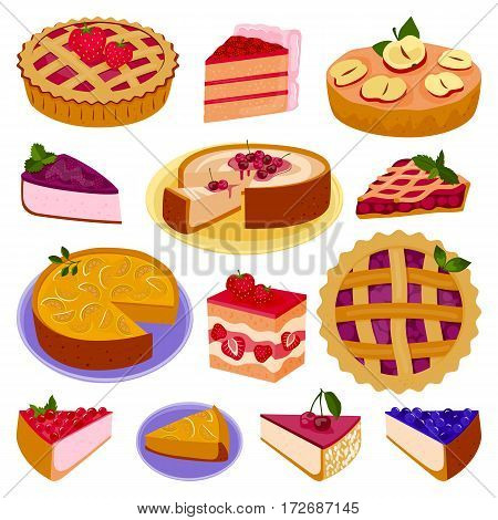 Homemade organic pie dessert vector illustration. Fresh golden rustic gourmet bakery. Traditional slice crust delicious. Seasonal tasty warm baked