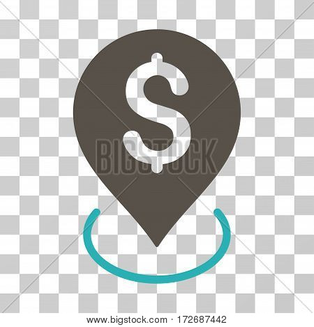 Bank Placement icon. Vector illustration style is flat iconic bicolor symbol grey and cyan colors transparent background. Designed for web and software interfaces.