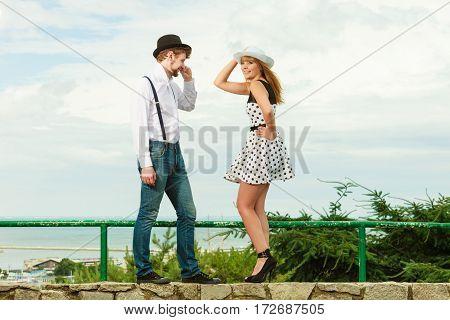 Loving Couple Retro Style Flirting Outdoor