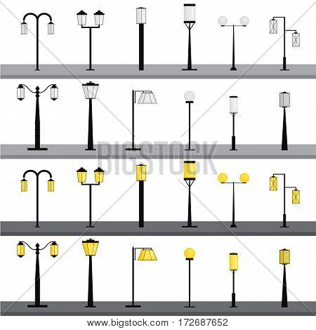 Set of silhouettes of street lanterns. Lighting. Flat style. Yellow lamp light. Lamppost. Collection of outdoor urban elements. Isolated on white background. Vector illustration.