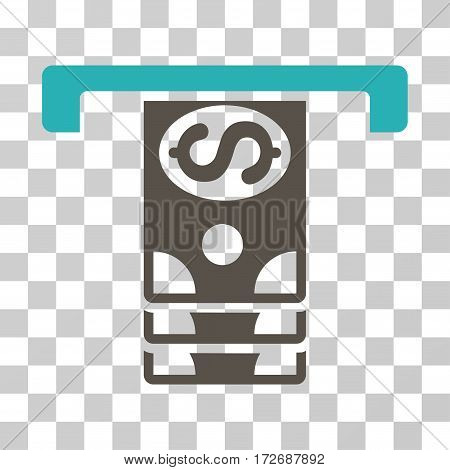 Banknotes Withdraw icon. Vector illustration style is flat iconic bicolor symbol grey and cyan colors transparent background. Designed for web and software interfaces.