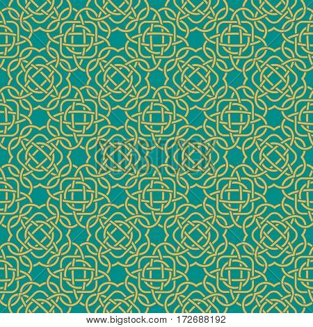 Clover Seamless Pattern In Celtic Style. St. Patrick's Day Endless Repeat Backdrop, Texture, Wallpap