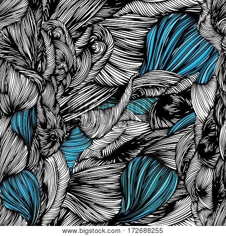 Vector Seamless Wave Doodle Hand Drawn Pattern. Black And White With Turquoise Part. Can Be Used For