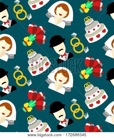 Wedding vector seamless pattern with bride, groom, cake, flowers, rings. Newlyweds endless background in flat style
