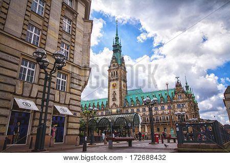 HAMBURG GERMANY - JUNE 10: Exterior view of the town hall of Hamburg in 2012. The town hall German The Hamburg Rathaus was built 1897 and is the seat of the government of Hamburg