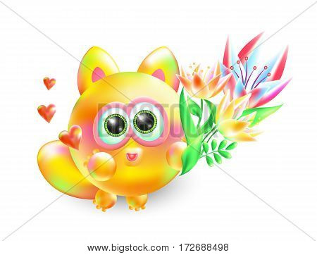 Vector 3d illustration enamored little kitten. Realistic multi-colored amorous cat with beautiful bouquet of flowers on a white background