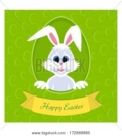 Happy Easter greeting card with eggs background and rabbit. White cute Easter Bunny peeking out of a hole. Gold ribbon with the inscription. long ears. Vector illustration.