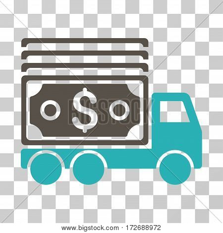 Cash Lorry icon. Vector illustration style is flat iconic bicolor symbol grey and cyan colors transparent background. Designed for web and software interfaces.
