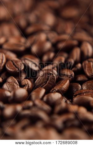 Roasted coffee beans close-up with blur vertical shot as background.