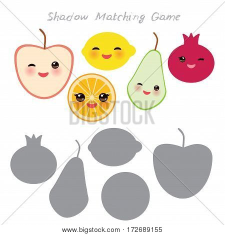 tangerine apple lemon orange pear pomegranate isolated on white background, Shadow Matching Game for Preschool Children. Find the correct shadow. Vector illustration