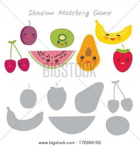 cherry plum watermelon kiwi papaya banana strawberries isolated on white background, Shadow Matching Game for Preschool Children. Find the correct shadow. Vector illustration