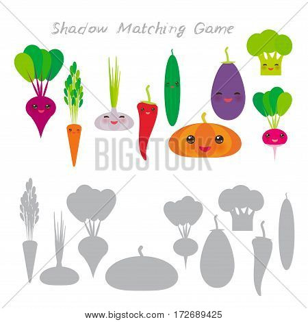 beets broccoli carrots chili cucumber garlic pumpkin radish eggplant isolated on white background, Shadow Matching Game for Preschool Children. Find the correct shadow. Vector illustration