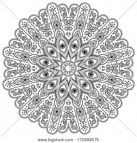 Henna tatoo mandala. Mehndi style.Decorative pattern in oriental style. Coloring book page.