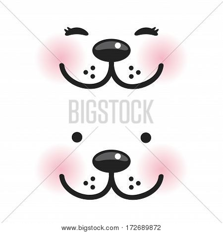 Kawaii funny muzzle with pink cheeks and winking eyes on white background. Vector illustration