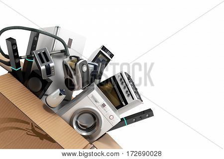Appliances In The Box 3D Illustration On White