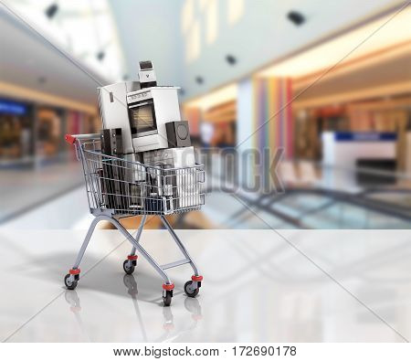 Home Appliances In The Shopping Cart E-commerce Or Online Shopping Concept 3D Render In Store