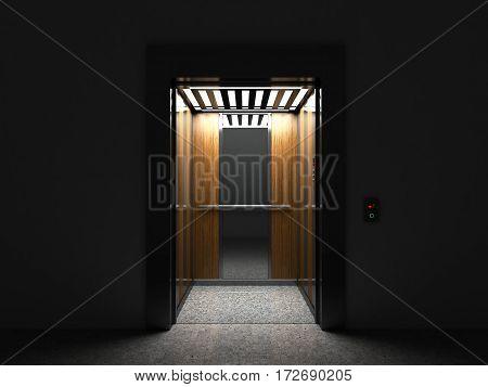 Realistic Open Empty Elevator With Half Open Door 3D Render