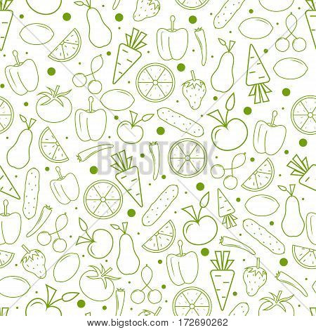 Vitamin Seamless pattern. Vegetables and fruits in a linear Style. Green outline isolated on white background. Healthy vegetarian food. Eco concept. Vector illustration.