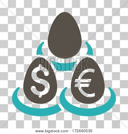 Currency Deposit Diversification icon. Vector illustration style is flat iconic bicolor symbol grey and cyan colors transparent background. Designed for web and software interfaces.