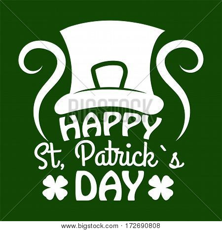 Irish holiday traditional logo design element for vector greeting card or celebration feast text template. Saint Patrick day symbol of Leprechaun hat and four-leaf clover leaf or lucky shamrock.