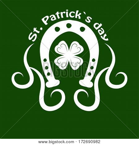 Irish holiday traditional logo design element for vector greeting card or celebration feast text template. Saint Patrick day symbol of horseshoe and four-leaf clover leaf or lucky shamrock.