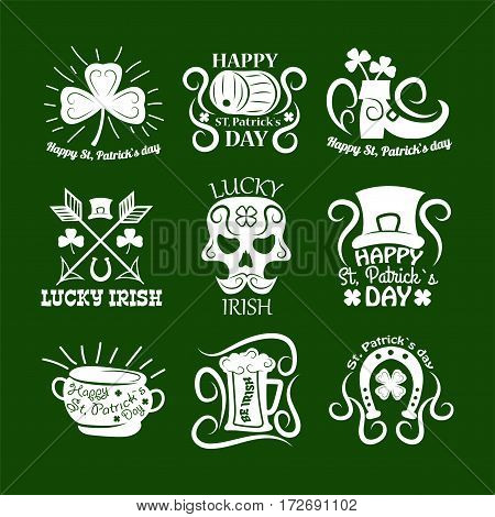 Vector Leprechaun hat and gold pot, four-leaf clover leaf or lucky shamrock, horseshoe and Irish beer ale. Saint Patrick symbols and logos set. Traditional design elements