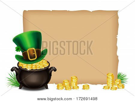 St.Patrick's Day symbols-Pot Of Gold and leprechaun hat. St.Patrick's Day background Magical Treasure. Vector illustration