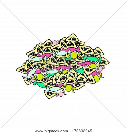 Treats for the holiday of Purim. Mishloach Manot. Many Gomentash and candy. Doodle, sketch, hand drawing. Vector illustration
