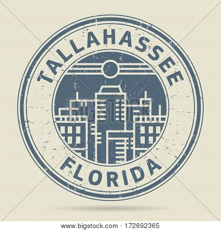 Grunge rubber stamp or label with text Tallahassee Florida written inside vector illustration