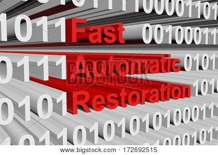 fast automatic restoration in the form of binary code, 3D illustration