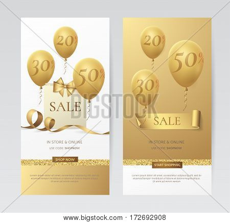 Set of stylish vertical banners with paper shopping bag, golden bow, ribbons and balloons. Vector templates for holiday discounts offered on the website with gold and white background.