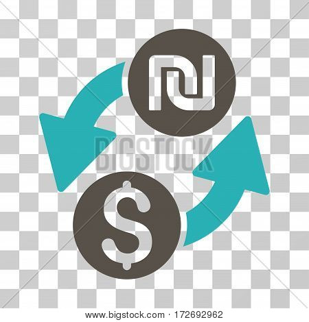 Dollar Shekel Exchange icon. Vector illustration style is flat iconic bicolor symbol grey and cyan colors transparent background. Designed for web and software interfaces.