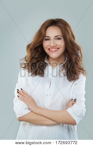 Healthy Woman with red hair in White Clothes