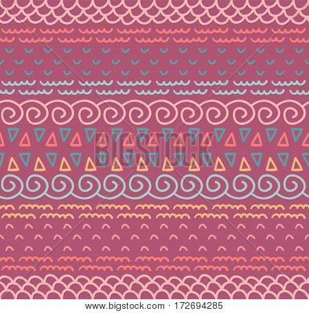 Ethnic textile decorative native ornamental striped seamless pattern in vector. Color endless background