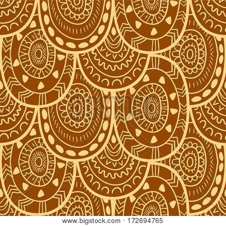 Ethnic textile decorative native ornamental seamless pattern in vector. Endless background