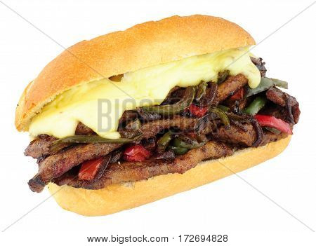 Cheese steak sandwich roll with red and green peppers isolated on a white background