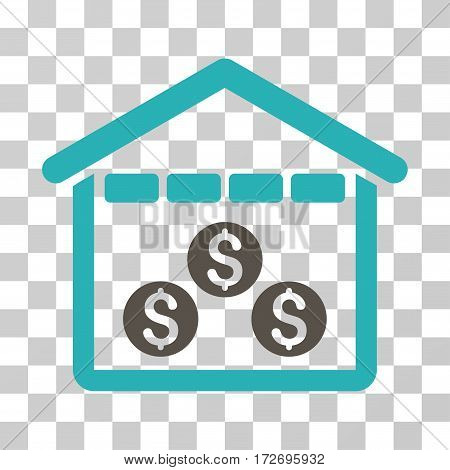 Money Depository icon. Vector illustration style is flat iconic bicolor symbol grey and cyan colors transparent background. Designed for web and software interfaces.