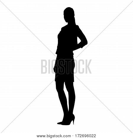 Slim business woman standing with hands on her hips. Lady with long legs in high heels shoes vector silhouette