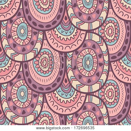 Ethnic decorative native ornamental striped seamless pattern in vector. Endless background in gentle colors