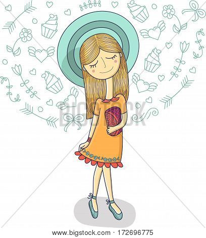 Vector illustration of a beautiful fashion girl in cute dress, striped hat with bag. Glamorous lady on white background