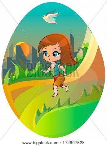 Running girl with bird on the city and sun background