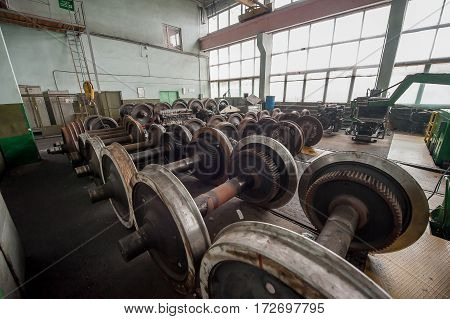 heavy industry factory production of the steel train wheels