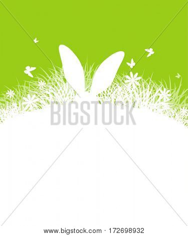background for Easter. Template for brochure. Rabbit ears sticking out of the grass. Silhouette