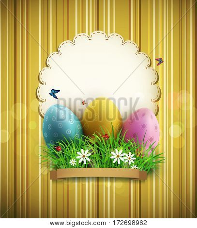 vintage background with easter eggs, green grass and a round card for text.