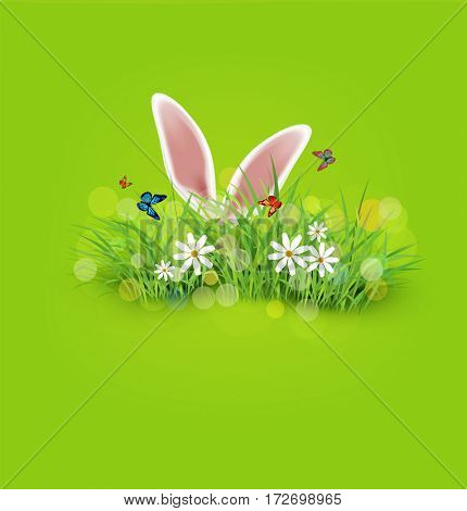 background for Easter. Template. Rabbit ears sticking out of the grass.
