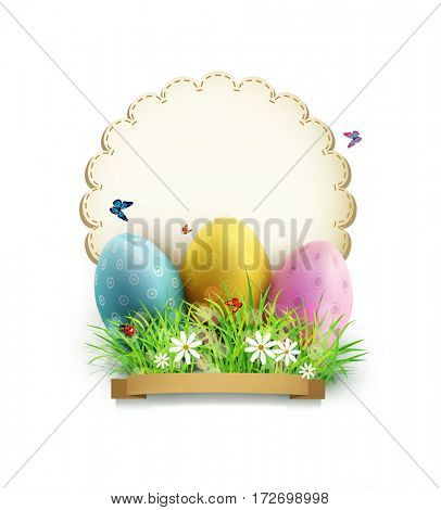 vintage element for design. Easter eggs in green grass with white flowers, butterflies, vintage card for congratulation, isolated on white background
