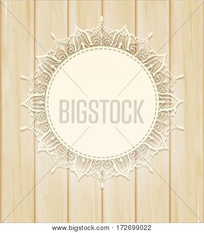 vintage background with a circle of lace on the wooden background