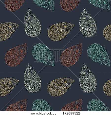 Paisley vector seamless pattern. Ethnic endless background