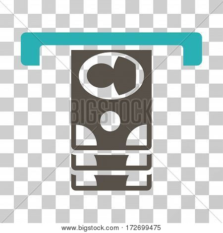 Withdraw Banknotes icon. Vector illustration style is flat iconic bicolor symbol grey and cyan colors transparent background. Designed for web and software interfaces.