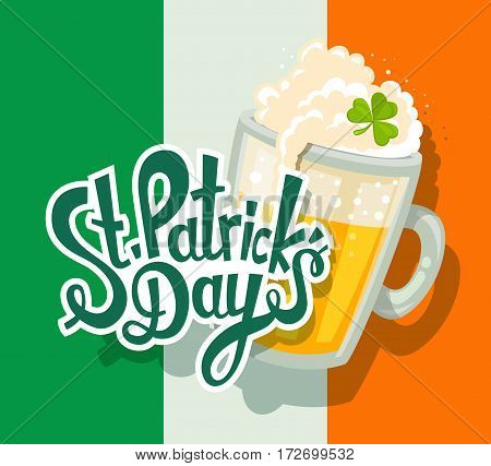 Vector Illustration Of St. Patrick's Day Greeting With Big Mug Of Yellow Beer With Clover And Text O